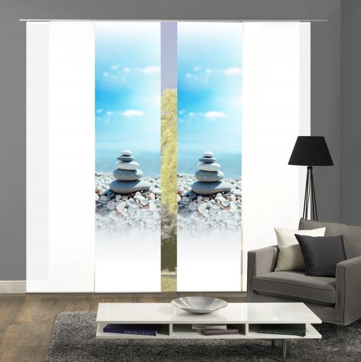 Inhalt: 2x Flächenvorhang Mit Motiv Druck Und 2x Uni Weiß, Blickdicht.  Dieses Moderne Flächenvorhang Set DOLLY Wird Zum Eyecatcher An Ihrem  Fenster.