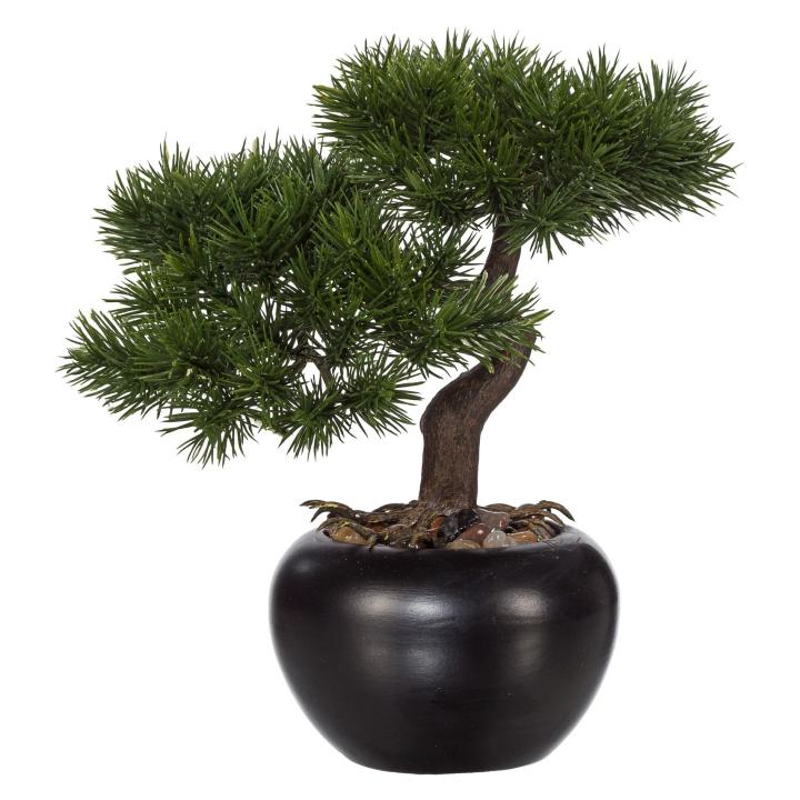 kunstpflanze bonsai kiefer gr n mit schwarzem keramik topf h he ca 25 cm ebay. Black Bedroom Furniture Sets. Home Design Ideas