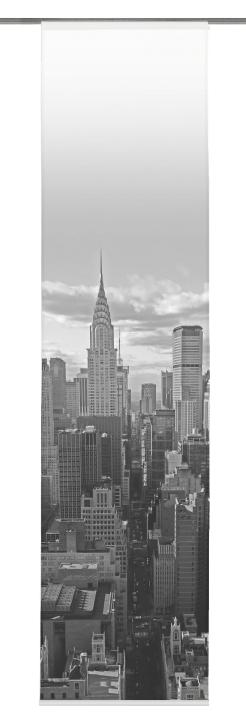Schiebevorhang deko blickdicht new york fb schwarz wei for New york zimmer deko