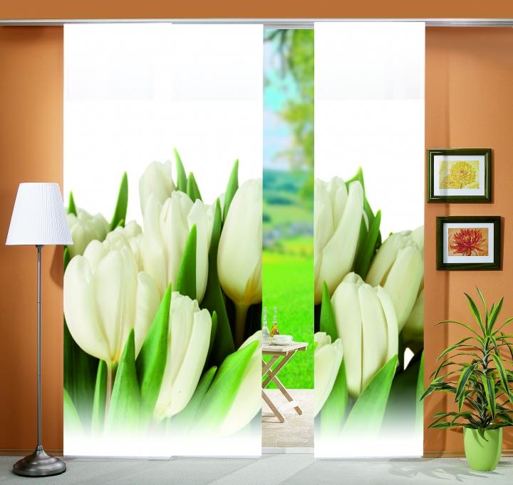 3er set fl chenvorh nge deko blickdicht tulpa fb natur gr e bxh 60x245 cm ebay. Black Bedroom Furniture Sets. Home Design Ideas
