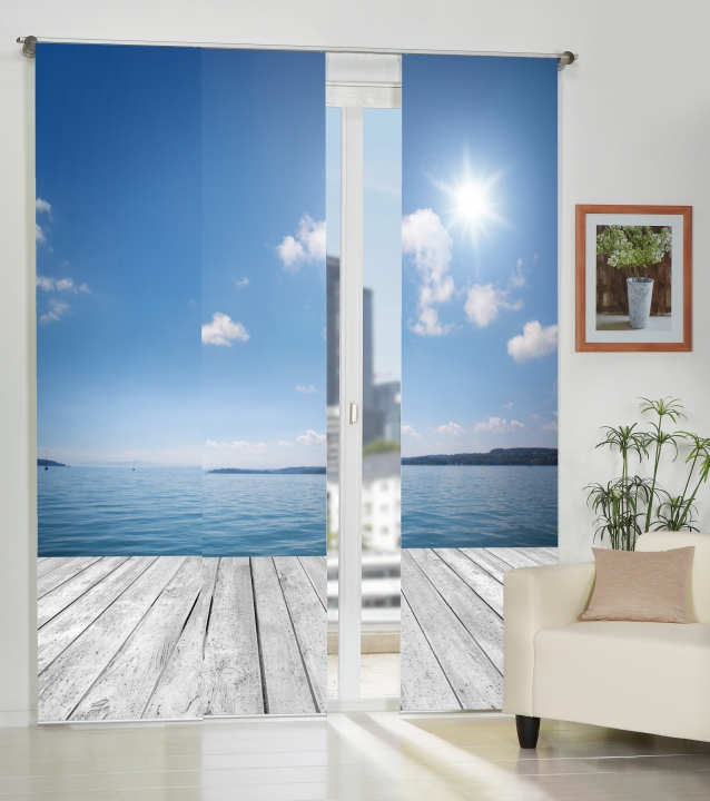 3er set fl chenvorh nge deko blickdicht ocean fb blau gr e bxh je 60x245 cm ebay. Black Bedroom Furniture Sets. Home Design Ideas