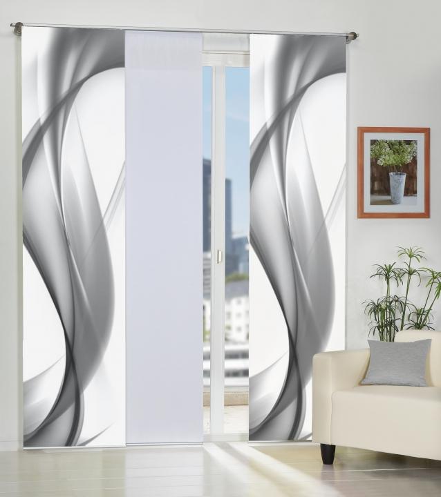 3er set fl chenvorh nge deko blickdicht fields grau mit zubeh r 4061419010628 ebay. Black Bedroom Furniture Sets. Home Design Ideas
