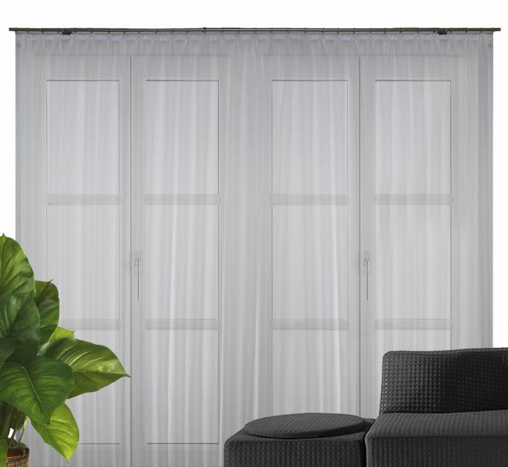 fertigstore fidji voile l ngsstreifen mit faltenband farbe weiss ebay. Black Bedroom Furniture Sets. Home Design Ideas