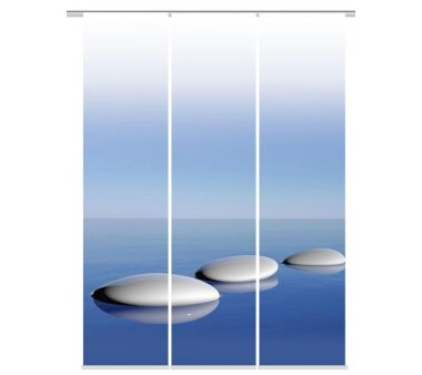 3er-Set Flächenvorhang, Deko blickdicht, BLUE,...
