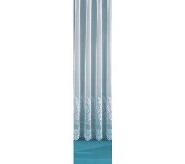 Fertig-Store Jacquard mit Kräuselband Farbe weiß halbtransparent