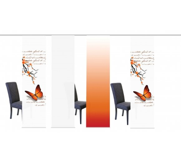 schiebegardinen set 4 tlg alessia orange. Black Bedroom Furniture Sets. Home Design Ideas