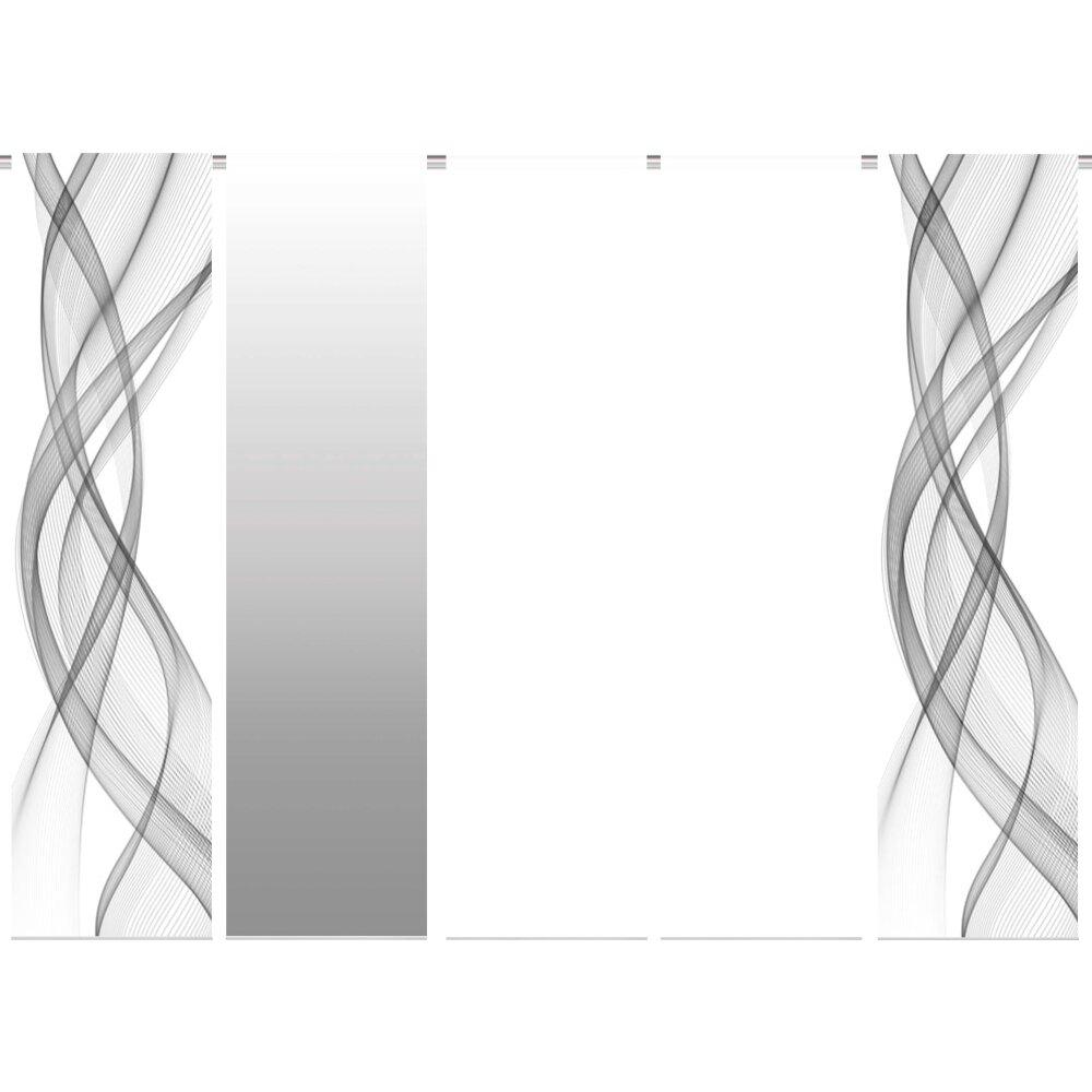 schiebegardinen 5er set mariella grau bei wohnfuehlidee. Black Bedroom Furniture Sets. Home Design Ideas
