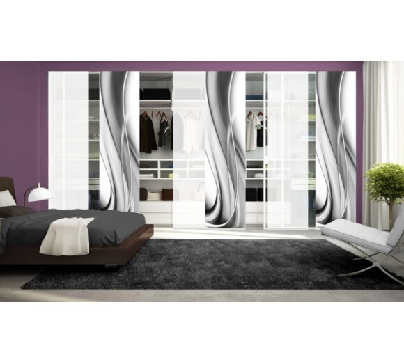schiebegardinen 6er set franka grau wohnfuehlidee. Black Bedroom Furniture Sets. Home Design Ideas