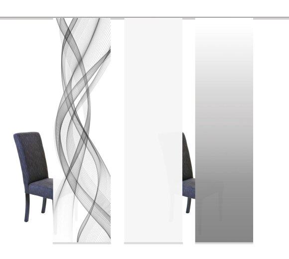 schiebegardinen set 3er mariella grau bei wohnfuehlidee. Black Bedroom Furniture Sets. Home Design Ideas