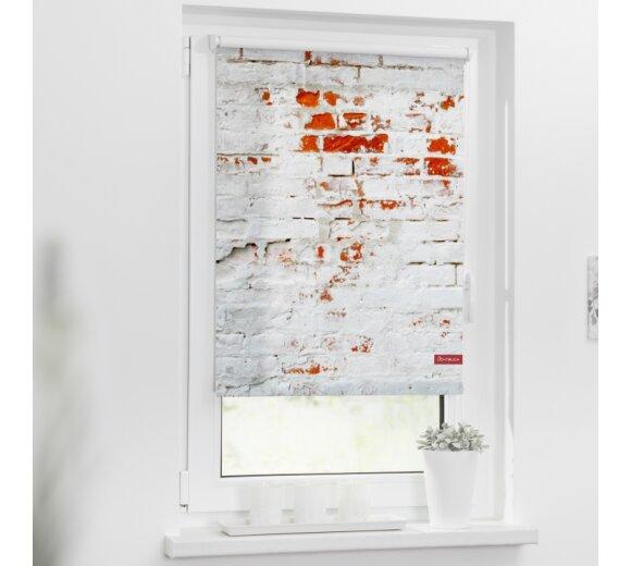 Lichtblick Rollo Klemmfix Ohne Bohren Blickdicht Motiv Mauer Farbe Weiss Rot
