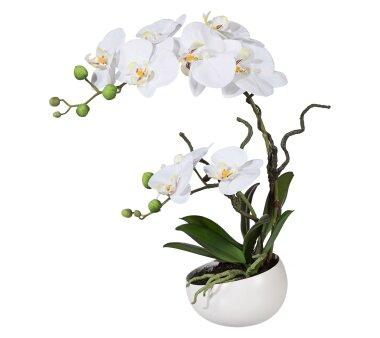 Kunstpflanze Orchidee Phalenopsis, weiß, mit...