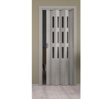 Falttür Elvari, 3D-Optik grau, mit 3 Fensterreihen...