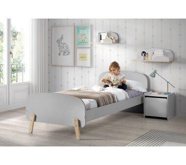 Vipack Einzelbett Kiddy, 90 x 200 cm, hellgrau