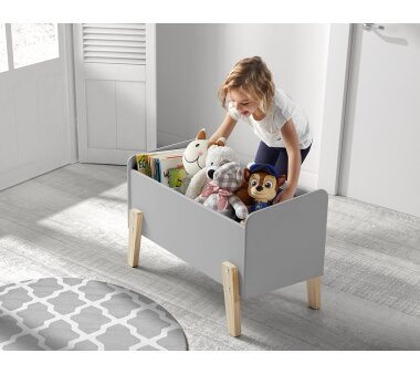 Vipack Spielkiste Kiddy mit 3 Fächern, hellgrau