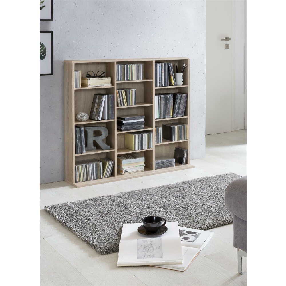 regal cd regal sonoma eiche dekor 13 f cher kaufen wohnfuehlidee. Black Bedroom Furniture Sets. Home Design Ideas
