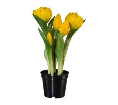 Kunstpflanze Tulpen gefüllt, Farbe gelb, mit...