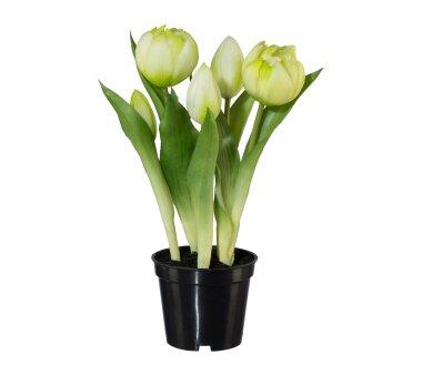 Kunstpflanze Tulpen gefüllt, Farbe weiß, mit...