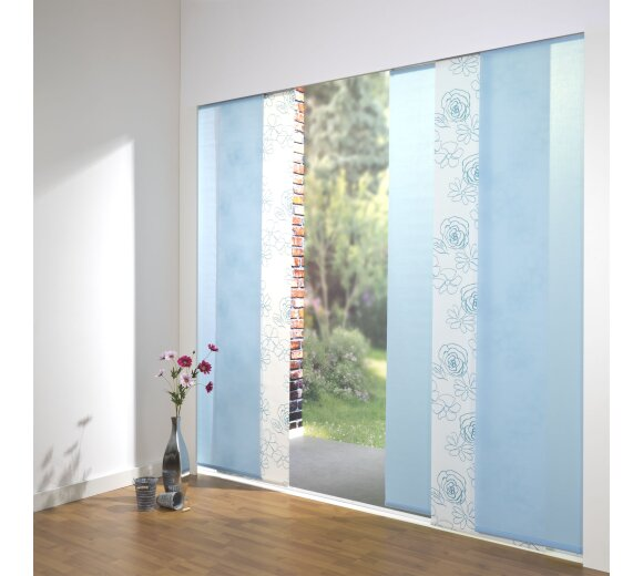 Schiebevorhang Set Angelina uni/Blüte blau, 260cm kaufen