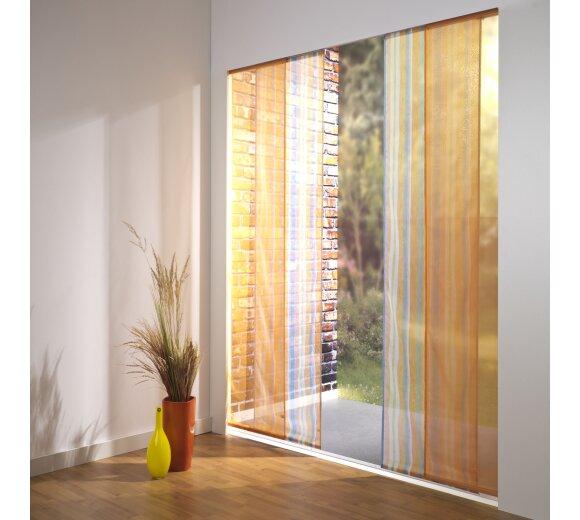 schiebevorhang set 4 schiene chiara farbig gr n 210 cm. Black Bedroom Furniture Sets. Home Design Ideas