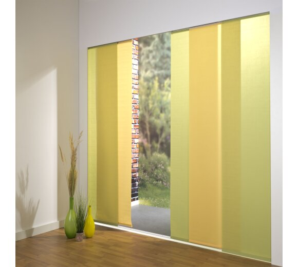 schiebevorhang set 5 schiene dalina gr n gelb 260 cm. Black Bedroom Furniture Sets. Home Design Ideas