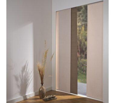 schiebevorhang set 4 schiene daphne hellbraun 210 cm. Black Bedroom Furniture Sets. Home Design Ideas