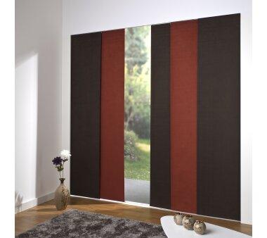 schiebevorhang set 5 schiene daphne rot dunkelbr 260cm. Black Bedroom Furniture Sets. Home Design Ideas