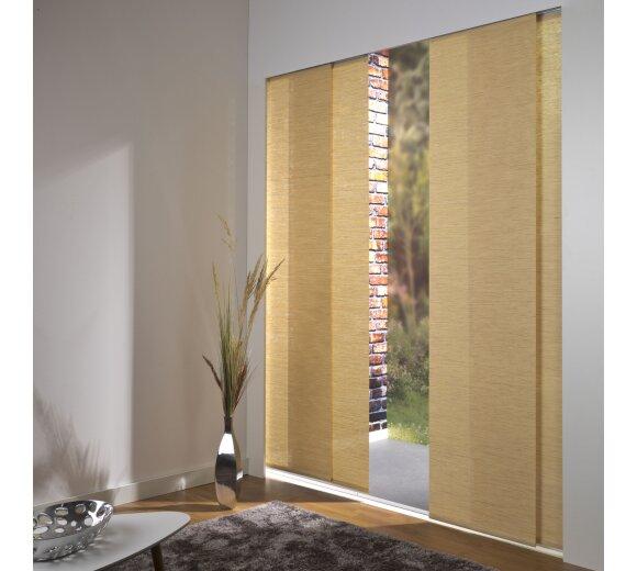schiebevorhang set 3 schiene bambus natur 260cm kaufen. Black Bedroom Furniture Sets. Home Design Ideas