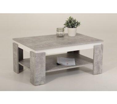 Couchtisch Tim II mit Ablageboden, Farbe beton/weiß