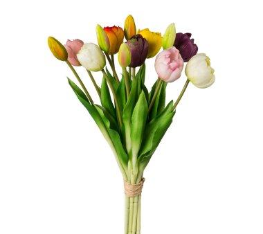 Kunstpflanze Tulpen gefüllt, 12er Bund, Farbe bunt,...