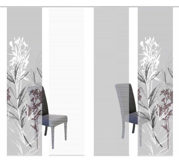 halbtransparent VISION S 4er-Set Schiebevorhänge LACHLAN Höhe 260 cm grau