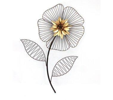 Wanddekoration BLUME, schwarz / gold, 40 x 3,5 x 58 cm