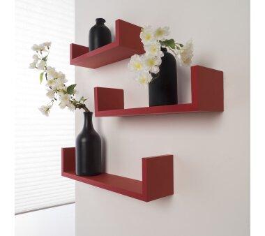 Duraline Wandregal U-SHELF KIT,  3er Set, Farbe rot