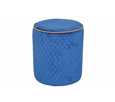 Sitzpouf 4466, mit Samtbezug, Farbe azurblau