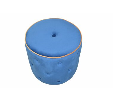 Sitzpouf 4471, mit Samtbezug, Farbe azurblau