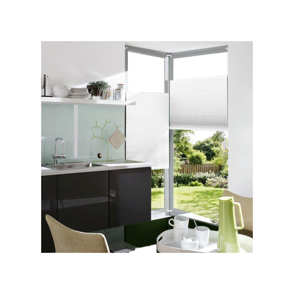 plissee verspannt wei 80x130 cm liedeco. Black Bedroom Furniture Sets. Home Design Ideas