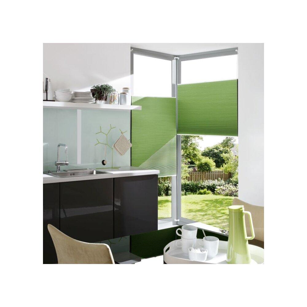 plissee verspannt apfelgr n 90x130 cm liedeco. Black Bedroom Furniture Sets. Home Design Ideas