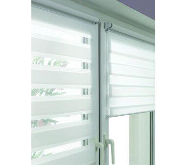 GARDINIA EASYFIX Doppelrollo weiß 60 x 150 cm mit einfacher Montage auf dem Fensterflügel