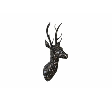 3D-Wandskulptur HIRSCHKOPF 824, schwarz, 19 x 25 x 55 cm