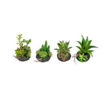 Kunstpflanze Mini-Sukkulenten, 4-fach sortiert, mit...