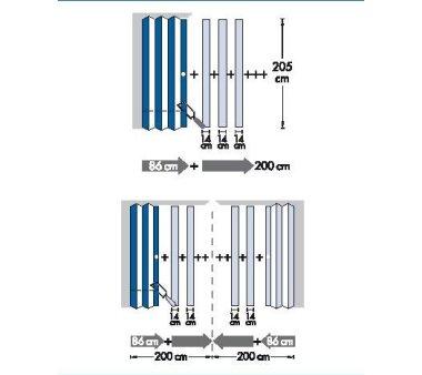 Falttür MARLEY New Generation, 035925, B 86 x H 205 cm, Buchefarben, Fenster Karo weiss-satiniert