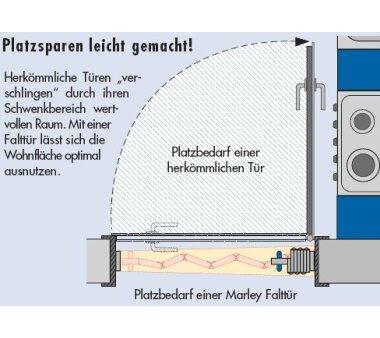 Falttür MARLEY Eurostar, Volllamelle, mit Schloss, B 83 x H 205 cm Fb. esche weiss