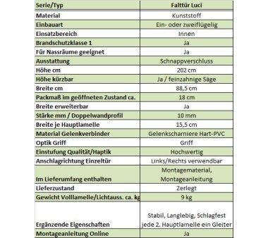 Kunststoff Falttür Luci, 3 Fensterreihen, B 88,5 x H...