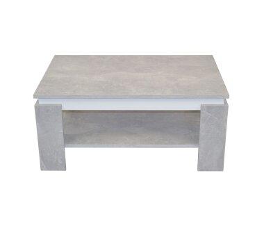 Couchtisch 3071, mit Ablageboden,  betonoptik / weiß