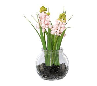 Kunstpflanze Muscari mit Gras, 5er Set, rosa, inklusive...