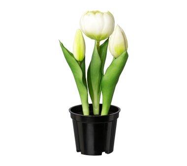 Kunstpflanze Tulpen gefüllt, 3er Set, weiß,...