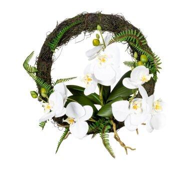 Künstlicher Orchideen-Wandkranz, weiß,...