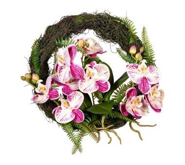 Künstlicher Orchideen-Wandkranz, creme / lila,...