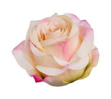 Kunstblume Rose mit Clip, 6er Set, pfirsich, 8,5x10,5 cm