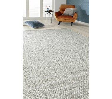 Flachgewebe-Teppich RAYON, Farbe hellgrau-creme