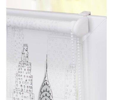 Lichtblick Rollo Klemmfix, ohne Bohren, blickdicht, Big City - Weiß-Grau 120 cm x 180 cm (B x L)